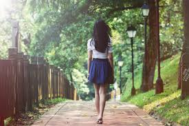 girl walking in nature